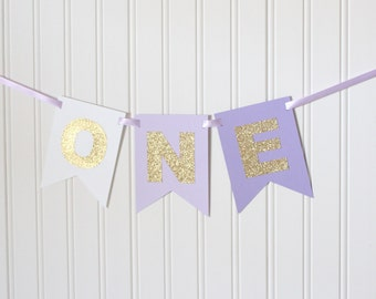 Gold Purple Ombre ONE High Chair Banner Happy Birthday Banner/ Girl Birthday/ Princess Party/ Party Decorations/1st birthday/ Lavender