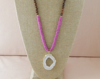 Long white druzy necklace with purple rondels and robles wood beads, beach chic, bohemian style, beach boho, fall fashion,  long necklace
