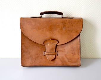 Vintage leather satchel / french Leather pannier / Worker document bag / schoolbag