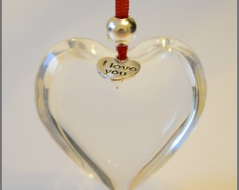 Glass heart with charm, I love you heart, Valentine's Day heart, gift for her, room decor, loved one gift, glass heart, hanging heart