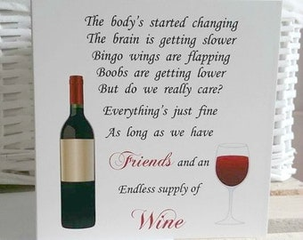Friend Card, Funny Friend Card, Funny Card, Wine, Bingo Wings, Funny Birthday card, Birthday Card for her, Birthday card for friend