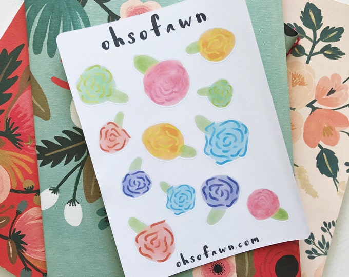 Hand Drawn Botanical Flower Stickers