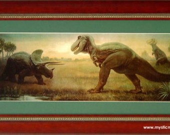 Tyranosaurus Rex vs Triceratops Framed Prehistoric Print