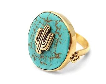 Tropical Ring Cactus - Turquoise Stone - Brass- Boho Ring
