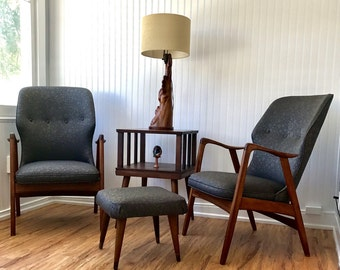 mid century on sale teak armchairs with ottoman danish modern bovenkamp arm chairs u0026 footrest