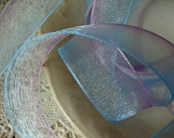 2 Yards - Purple and Blue Ombre Organdy Ribbon
