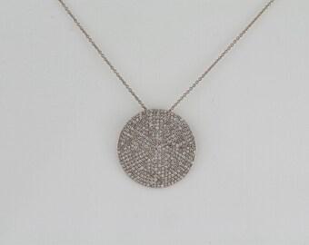 1.23ct - Round Diamonds 14K White Gold Round Diamonds Medium Disc Pendant - CUSTOM MADE