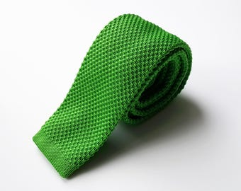 Green Knit Neck Tie, Men's Neck Tie