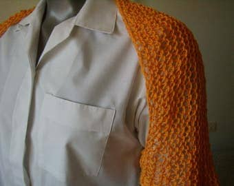 Bolero, shrug, women shrug, point openwork shawl, knitting needles, orange, size S/M, cowl, scarf, infinity, handmade