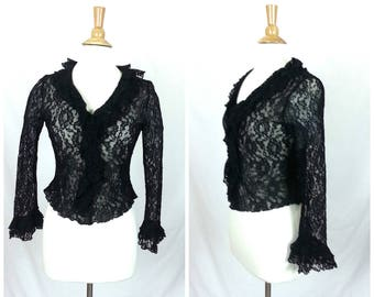 Vintage Black Lace Blouse - Medium // long sleeves with ruffle trim goth shirt gothic top 90s 1990s women's clothing
