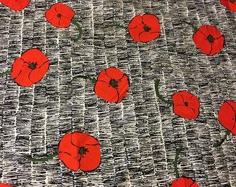 "Anthropologie ""Poppies"" cotton fabric"