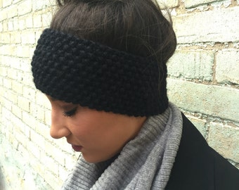 Hand knitted winter headband