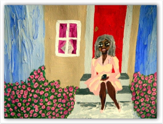 "Original Acrylic Painting, ""SOME DAY,"" Black Art, cultural art, African American Artist Stacey Torres 15 x 11"", Pink Rose Garden Art"
