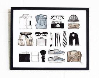 Fashion Wall Art / Wall Decor for Husband / Gift for Him / Gift for Boyfriend / Fashion Poster Him / Wall Decor Him / Gift for Husband / Men