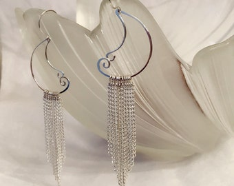 Hand hammered sterling silver wire earrings with silver plated chains