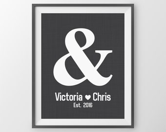 Gift For Newlyweds Wedding Present Gift for Couple Custom Wedding Keepsake Print Ampersand Love Print, Couples Names Established date