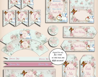 Alice in Wonderland Decoration Party Pack - Printable,DIY,Birthday Party