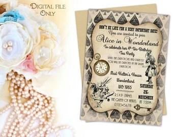 Digital Personalised Alice in Wonderland Invitations Printable,Download,Party,Birthday