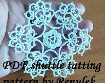 snowflake VERONICA. PDF Original Shuttle Tatting Pattern by Renulek Instant Digital Download. Tatting yourself gift. schemat frywolitki