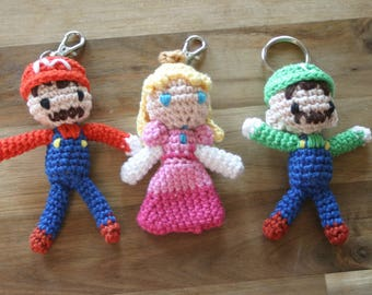 Mario, Luigi and Peach Amigurumi Charms