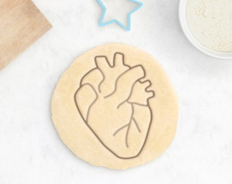 Anatomical Heart Cookie Cutter - Human Anatomy Cookie Cutter Macabre Halloween Cookie Cutter Medicine Doctor Cookie Cutter - 3D Printed
