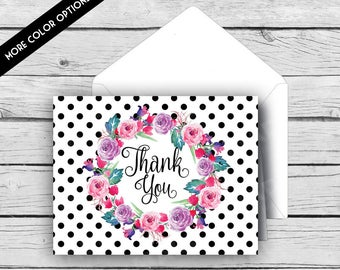 THANK YOU Note Card Set - Black & White Dot Watercolor Flowers, Stationery, Printed Stationery, Thank You Cards, Polka Dots
