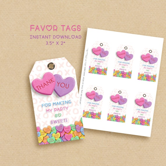 Valentines favor tags, gift tags, thank you tags, birthday valentines, printable tags