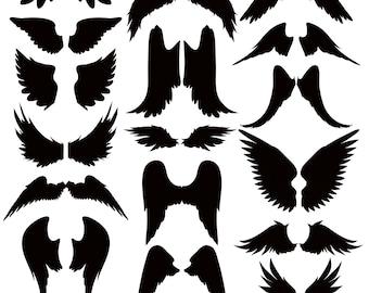 Angel Wings SVG, Angel Wings Clipart, Angel Silhouettes Clipart, Wings Silhouettes, Angel Black Silhouette, SVG File, png jpg svg