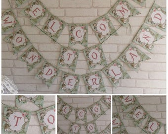 Alice in Wonderland  Welcome to Wonderland Bunting,Garland,Flag,Banner - Party,Decoration,Floral,Tea Party,Decor,