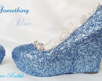 Something Blue Chunky Glitter Wedding Custom Personalized Women Handmade Glitter Shoe High Heel Wedding Bridal Size 3 4 5 6 7 8 Platform