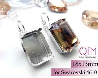 85db4c71336e1a 3pairs Octagon Bezel Earrings Settings 18x13mm Silver plated - Lever Back  earrings for Swarovski 4610