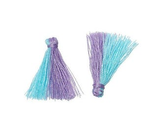 20 mini PomPoms two-tone blue sky and purple 25mm