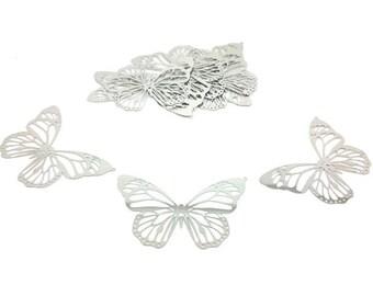 10 butterflies 51x33mm silver Platinum prints