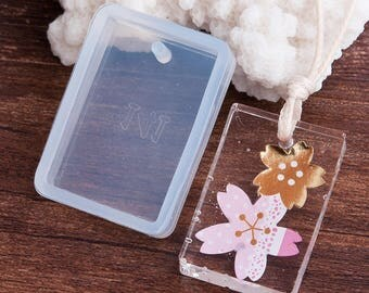 Mould in silicone rectangle pendant 34x24mm for creations in resin fimo