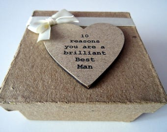 10 Reasons You Are A Brilliant Best Man Gift Box Filled With Personalised Messages To Thank Your Best Man. Pre Wedding Gift