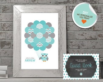 Owl Baby Shower Guest Book, Owl Guest Book, Teal, Gray, Polka Dots (Matches Chalkboard, Branch) | DIY