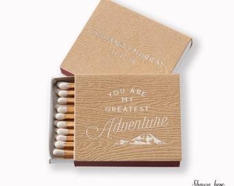 GREATEST ADVENTURE Matchboxes - Wedding Favor, Wedding Matches, Personalized Matches, Custom Matchboxes, Match Box Favor, Wood Grain Paper