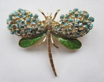 Vintage Kirks Folly Enamel Crystal/Rhinestone Dragonfly Pin Brooch Insect