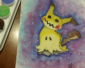 "Mimikkyu Watercolor - ORIGINAL 6x8"""
