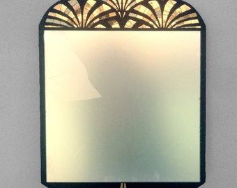 Mosaic mirror with gold and black marble