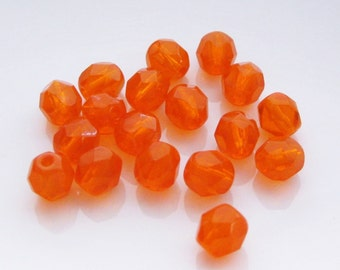 6mm Orange Czech Fire Polished Rounds Faceted Orange Czech Beads (30)