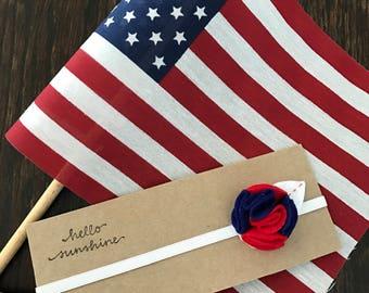 Red, White & Blue Patriotic Felt Flower Headband for newborn/baby/toddler/litte girl
