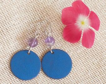 Blue enamel dangle earrings, Colorful earrings, Amethyst silver earrings, Enamel copper earrings, Enameled copper earrings, Sterling silver