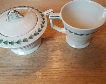 Sets of W. H. Grindley china pattern Linkstone or Cream Petal, tea cups & small plates, creamer and sugar bowl, gravy boat and covered dish