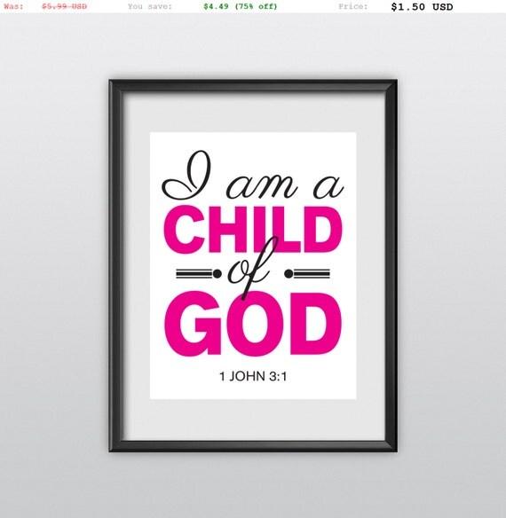75% off 1 John 3:1 Child of God Nursery Decor Pink Version Gift Idea Printable Christian Poster Bible Verse (T04)