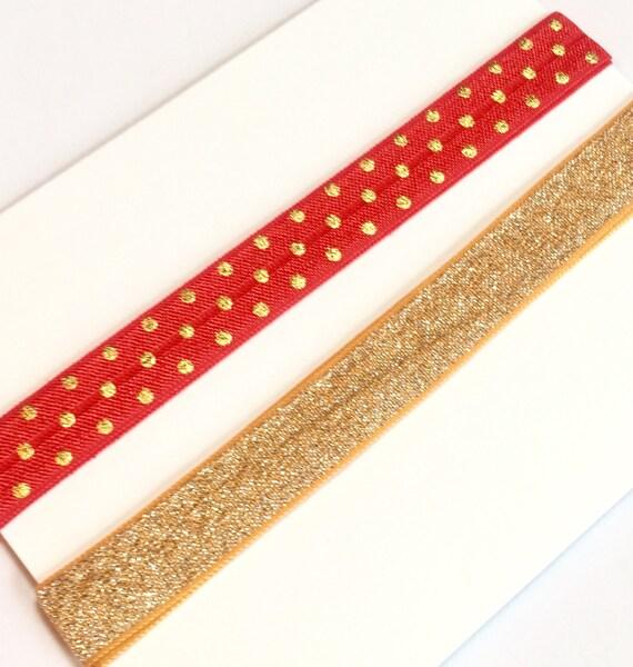 Red Polka Dot and Gold Adjustable Headbands
