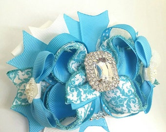 Turquoise blue Hair bow,  Damask print fancy Boutique hair Bow