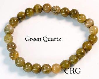 Round 6-7mm GREEN QUARTZ Beads Stretch Bracelet (BR26DG)