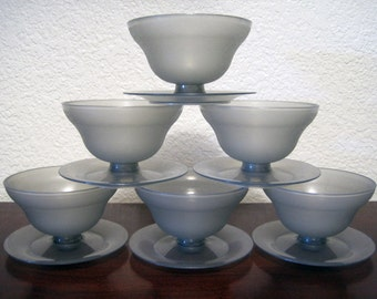 Pudding Dessert Serving Cups – Set of 6 - Vintage Tupperware #755 Bowls with #754 Bases (12 Pieces)