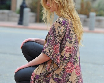 Pink Purple Floral Print Kimono
